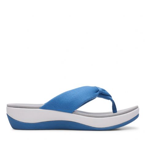 Clarks Womens Arla Glison Mid Blue Synthetic Sandals